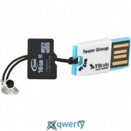 MicroSDHC 16GB Class 10 Team + USB-reader TR11A1 (TUSDH16GCL1005)