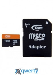 MicroSDHC 16GB UHS-I Class 10 Team + SD-adapter (TUSDH16GUHS03)