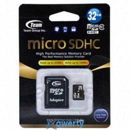 MicroSDHC 32GB Class 10 Team + SD-adapter (TUSDH32GCL1003)