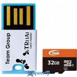 MicroSDHC 32GB UHS-1 Team + Reader TR11A1 Red (TUSDH32GUHS30)