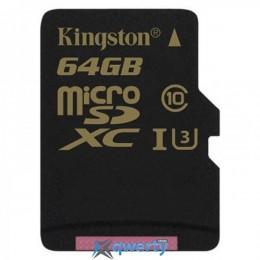 MicroSDXC 64GB UHS-I/U3 Kingston Gold + SD-адаптер R90/W45MB/s (SDCG/64GB)