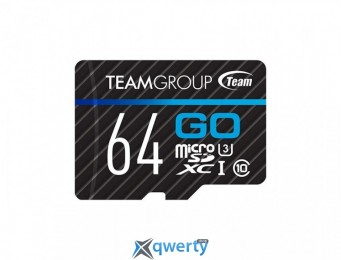 MicroSDXC 64GB UHS-I/U3 Team Go R90/W45MB/s + SD-адаптер (TGUSDX64GU303)