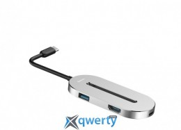 Baseus O HUB Type-C (HDMI + Type-C + USB 3.0) Silver (CABOOK-0S)