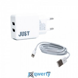 JUST SIMPLE DUAL WALL CHARGER (2.1A/2USB) WHITE + LIGHTNING CABLE (WCHRGR-SMP2LGHT-WHT)