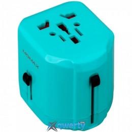 MOMAX 1-World USB AC Travel Adapter Blue (UK/EU/US/JP/CN/AU) (UA1B2