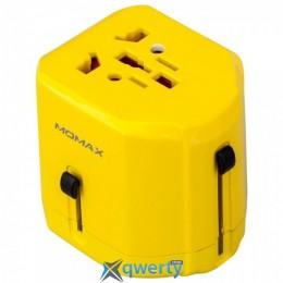 MOMAX 1-World USB AC Travel Adapter Yellow (UK/EU/US/JP/CN/AU) (UA1Y)