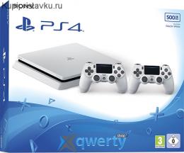Sony Playstation 4 Slim 500gb White с двумя джойстиками v2