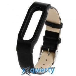 Ремешок для браслета Xiaomi Mi Band Leather Black (Лицензия)