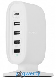 MOMAX U.Bull 5-Port Charging Station Type C QC3 White (UM5FTCEUW)