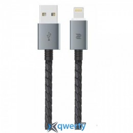 Rock Metal & Leather Cable Lightning (20CM) Black