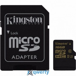 Kingston 16GB microSDHC C10 UHS-I U3 R90/W45MB/s 4K + SD адаптер (SDCG/16GB)
