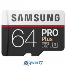 Samsung 64GB microSDXC C10 UHS-I U3 R100/W90MB/s Pro Plus + SD адаптер (MB-MD64GA/RU)
