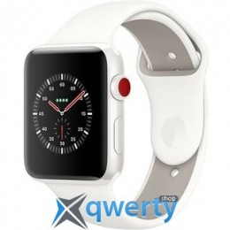 Apple Watch Edition GPS + LTE MQKD2 42mm White Ceramic Case with Soft White/Pebble Sport