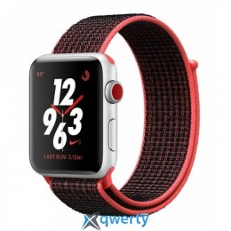 Apple Watch Series 3 Nike+ (GPS + LTE) MQLE2 42mm Silver Aluminum Case with Bright Crimson/BlackSport tBand