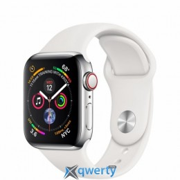 Apple Watch Series 4 GPS + LTE (MTVJ2) 40mm Stainless Steel Case with White Sport Band