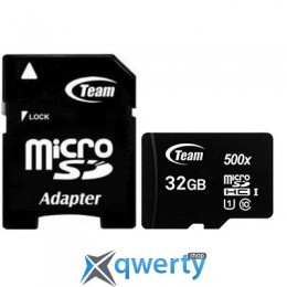 MicroSDHC 32GB UHS-I Class 10 Team Black + SD-adapter (TUSDH32GCL10U03)