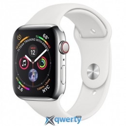 Apple Watch Series 4 GPS + LTE (MTV22) 44mm Polished Stainless Steel with White Sport Band купить в Одессе