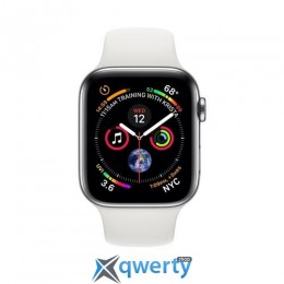 Apple Watch Series 4 GPS + LTE (MTX02) 44mm Polished Stainless Steel with White Sport Band