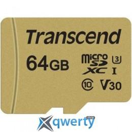 Transcend 64GB microSDHC class 10 UHS-I U3 V30 (TS64GUSD500S)