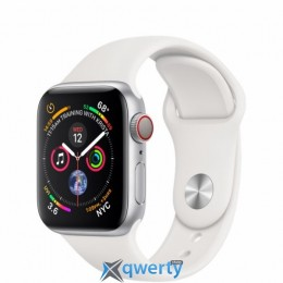 Apple Watch Series 4 GPS + LTE (MTUD2/ MTVA2) 40mm Silver Aluminum Case with White Sport Band