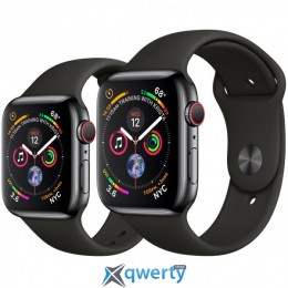 Apple Watch Series 4 GPS + LTE (MTUN2) 40mm Space Black Stainless Steel Case with Black Sport Band