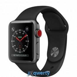 Apple Watch Series 3 GPS + LTE MQJP2 38mm Space Gray Aluminum Case with Black Sport Band