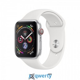 Apple Watch Series 4 GPS + LTE (MTUU2) 44mm Silver Aluminium Case with White Sport Band