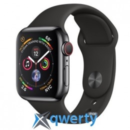 Apple Watch Series 4 GPS + LTE (MTVL2) 40mm Stainless Steel Case with Black Sport Band