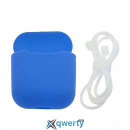 Чехол Airpods Silicon case+straps blue