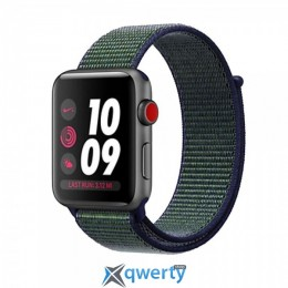 Apple Watch Nike+ Series 3 (GPS + Cellular) 42mm Space Gray Aluminum with Mig Fog Sport Loop (MQLH2)