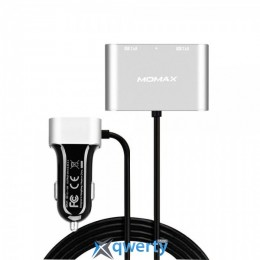 MOMAX Car Charger-Dual USB & Extra Dual USB (5V/9.6A) - Silver (UC6S)