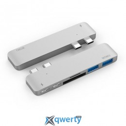 WIWU Adapter H2 USB-C to Dual USB-C+SD+microSD+2xUSB3.0 HUB Silver (H2SL)