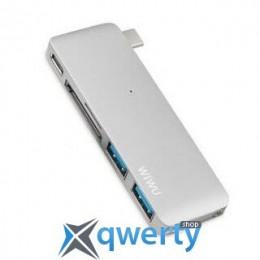 WIWU Adapter С1 Plus USB-C to USB-C+SD+2xUSB3.0 HUB Silver (С1 Plus Silver)