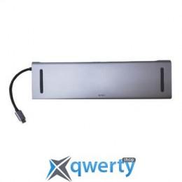 WIWU Adapter T7 USB-C to USB-C+RJ45+SD+3xUSB3.0+VGA+Mini Display port (TAPY-C 11in1 Gray)