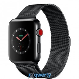 Apple Watch Series 3 GPS + LTE MR1H2 38mm Space Black Stainless Steel Case with Space Black Milanese Loop