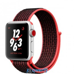 Apple Watch Series 3 Nike+ (GPS + LTE) MQL72 38mm Silver Aluminum Case with Bright Crimson/Black Sport Loop