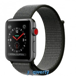 Apple Watch Series 3 GPS + LTE MQK62 42mm Space Gray Aluminum Case with Dark Olive Sport Loop