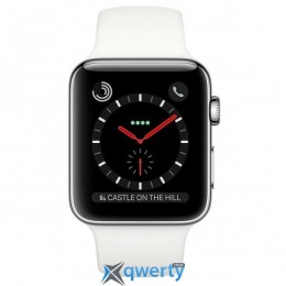 Apple Watch Series 3 GPS + LTE MQLY2 42mm Stainless Steel Case with Soft White Sport Band купить в Одессе