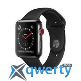 Apple Watch Series 3 GPS + LTE MQM02 42mm Space Black Stainless Steel Case with Black Sport Band