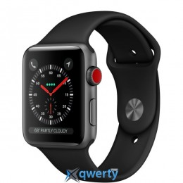 Apple Watch Series 3 GPS + LTE MR2W2 38mm Space Gray Aluminum Case with Black Sport Band