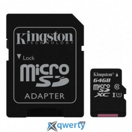 Kingston 64GB microSDXC C10 UHS-I R80MB/s + SD адаптер (SDCS/64GB)