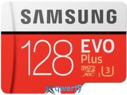 Samsung 128GB microSDXC C10 UHS-I U3 R100/W90MB/s Evo Plus + SD адаптер (MB-MC128GA/RU)