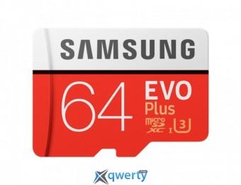 Samsung 64GB microSDXC C10 UHS-I U3 R100/W60MB/s Evo Plus + SD адаптер (MB-MC64GA/RU)