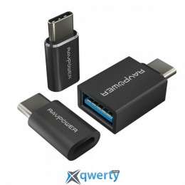 RAVPower USB C Adapter [3 in 1 Pack] USB C to Micro USB, USB C to USB 3.0 Adapter, Data T (RP-PC007)
