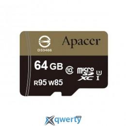 APACER microSDXC 64GB UHS-I U3+adapter (R95, W85MB/s) (AP64GMCSX10U4-R)