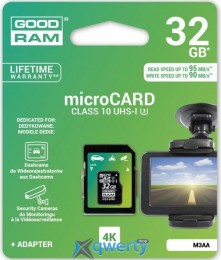 GOODRAM microSDHC 32GB UHS I MLC U3 + ad (R95, W90MB/s) (M3AA-0320R11-DD)