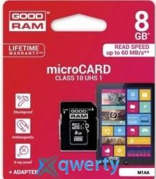 GOODRAM microSDHC 8GB Class 10 UHS I + adapter (M1AA-0080R11)