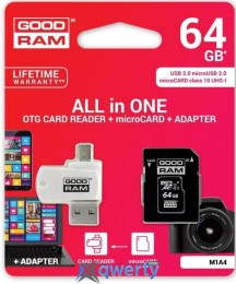 GOODRAM microSDXC 64GB Cl10 UHS I All in One + OTG reader (M1A4-0640R11)