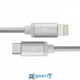 Coteetci M38 Type-C to Lightning Cable 1.2m Silver (CS2151-TS)