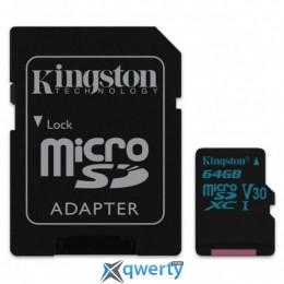 Kingston 64GB microSDXC class 10 UHS-I U3 Canvas Go (SDCG2/64GB)